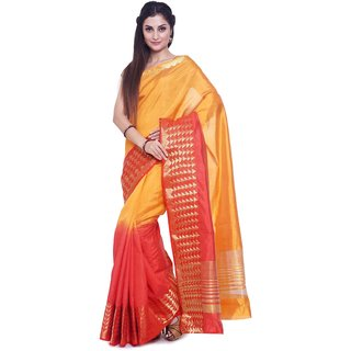 Sudarshan Silks Yellow Plain Raw Silk Saree With Blouse