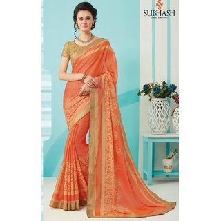 Sudarshan Silks Pink Polyester Plain Saree With Blouse