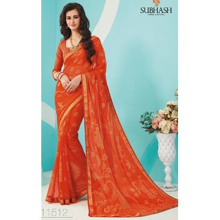 Sudarshan Silks Orange Polyester Plain Saree With Blouse