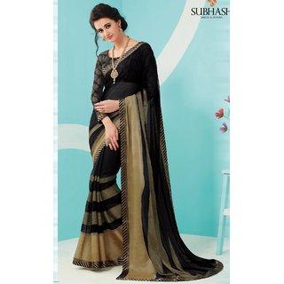 Sudarshan Silks Black Polyester Plain Saree With Blouse
