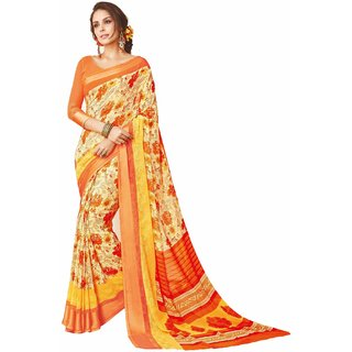 Sudarshan Silks Multicolor Georgette Plain Saree With Blouse