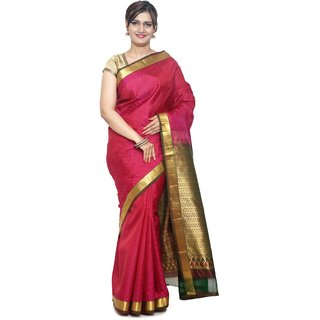 Sudarshan Silks Pink Silk Plain Saree With Blouse