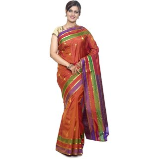 Sudarshan Silks Red Silk Plain Saree With Blouse