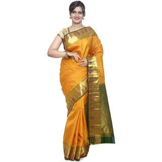 Sudarshan Silks Orange Silk Plain Saree With Blouse
