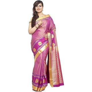 Sudarshan Silks Purple Dupion Silk Plain Saree With Blouse