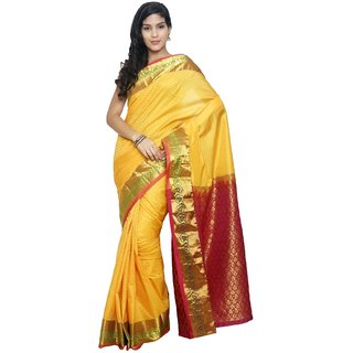 Sudarshan Silks Yellow Silk Plain Saree With Blouse