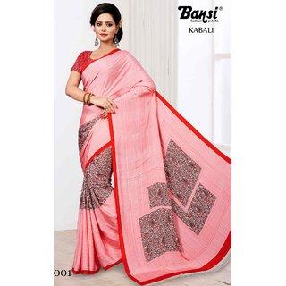Sudarshan Silks Pink Cotton Plain Saree With Blouse