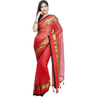 Sudarshan Silks Red Cotton Plain Saree With Blouse