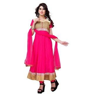 Sudarshan Silks Pink Net Plain Saree With Blouse