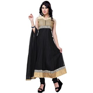 Sudarshan Silks Black Net Plain Saree With Blouse