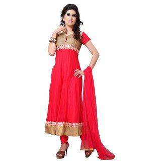 Sudarshan Silks Red Net Plain Saree With Blouse