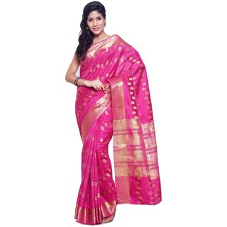 Sudarshan Silks Pink Raw Silk Plain Saree With Blouse