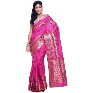 Sudarshan Silks Purple Raw Silk Plain Saree With Blouse