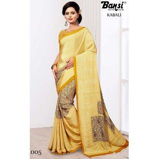 Sudarshan Silks Cream Plain Cotton Saree With Blouse