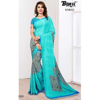Sudarshan Silks Blue Cotton Plain Saree With Blouse