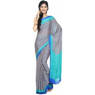 Sudarshan Silks Multicolor Polyester Plain Saree With Blouse