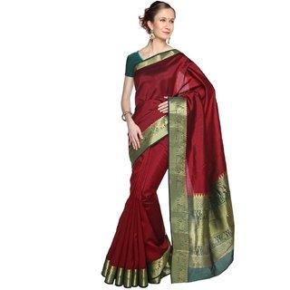 Sudarshan Silks Maroon Raw Silk Plain Saree With Blouse