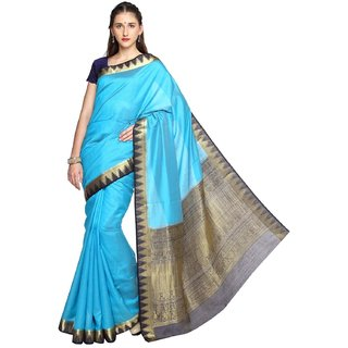 Sudarshan Silks Blue Tussar Silk Plain Saree With Blouse