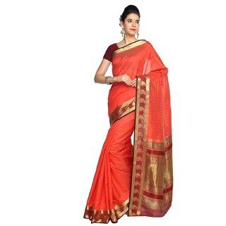 Sudarshan Silks Orange Tussar Silk Plain Saree With Blouse