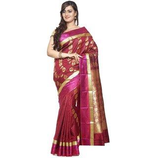 Sudarshan Silks Maroon Dupion Silk Plain Saree With Blouse
