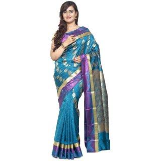 Sudarshan Silks Blue Dupion Silk Plain Saree With Blouse