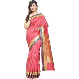 Sudarshan Silks Pink Dupion Silk Plain Saree With Blouse