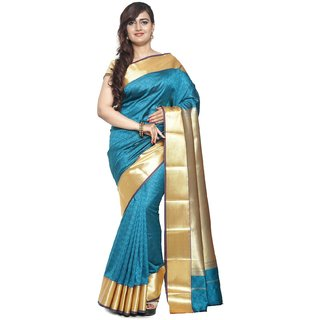 Sudarshan Silks Blue Dupion Silk Plain Saree With Blouse
