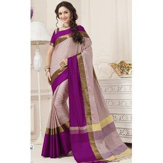 Sudarshan Silks Cream Silk Plain Saree With Blouse