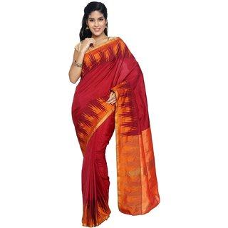 Sudarshan Silks Pink Silk Plain Saree With Blouse