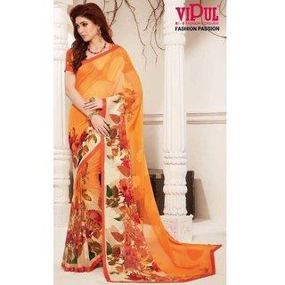 Sudarshan Silks Orange Crepe Plain Saree With Blouse