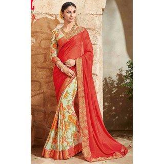 Sudarshan Silks Red Crepe Plain Saree With Blouse