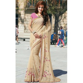 Sudarshan Silks Cream Polyester Plain Saree With Blouse