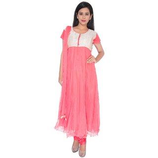 Sudarshan Silks Red Plain Net Saree With Blouse