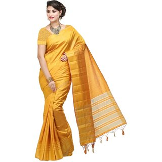 Sudarshan Silks Yellow Tussar Silk Plain Saree With Blouse