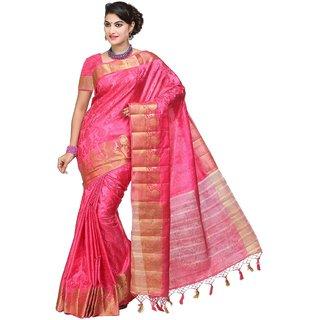 Sudarshan Silks Pink Tussar Silk Plain Saree With Blouse