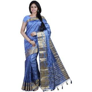 Sudarshan Silks Purple Tussar Silk Plain Saree With Blouse