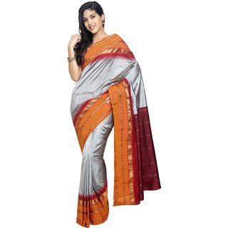 Sudarshan Silks Silver Silk Plain Saree With Blouse