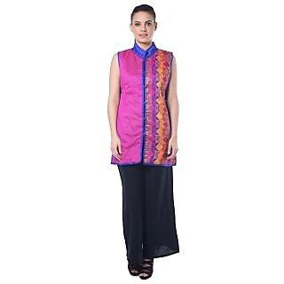 Lavennder Dark Pink Chanderi Jacket for Women