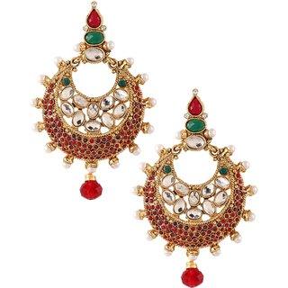 70a377308 Kriaa by JewelMaze Kundan Red And Green Pota Stone Pearl Gold Plated Dangle  Earrings-AAA0151