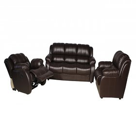 furniture4U - Five Seater Wooden Sofa Set 3+1+1 including 1 recliner