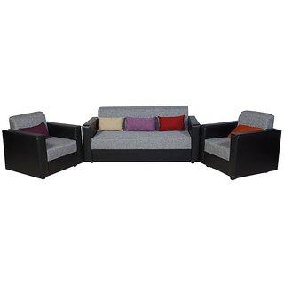 furniture4U - Feel Good Five Seater Dark Brown Sofa Set (Leatherette) (3+1+1)