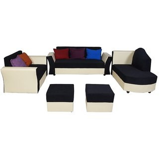 furniture4U - Model Five Seater Sofa Set including Couch Leatherette Blue & White (3+1+1)