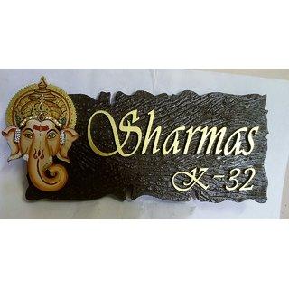 Wooden Ganesha Name Plate