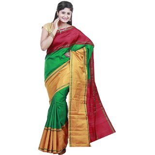 Silk Sarees Double contrast border Without Jari