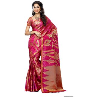Women'S Art Fancy Silk saree ,Kanchipuram Style,Color Rani