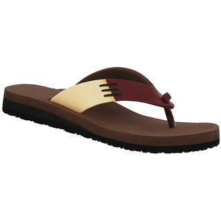 Dia One L.Cozy Red Cream Color Diabetic and Orthopedic Chappals for Women