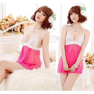 Sexy Women Lace Sheer Rose Nightwear,G String 2Pcs Set Lingerie Dress Nightdress