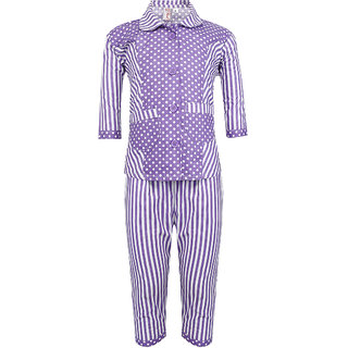 Red Roses Purple Doted Night Suit