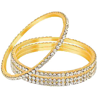 Sparkling Jewellery Golden And Silver Bangles - Set Of 4