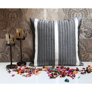 ANS Grey pintucked cushion with silver brocade panels